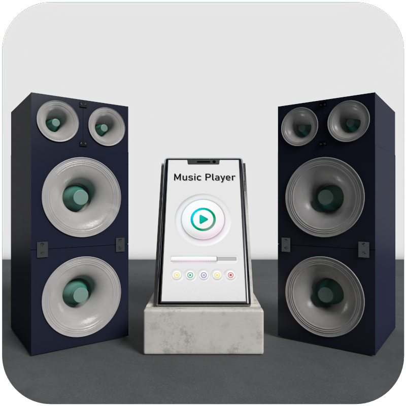 Logotipo 3D Music Player con cinema 4D