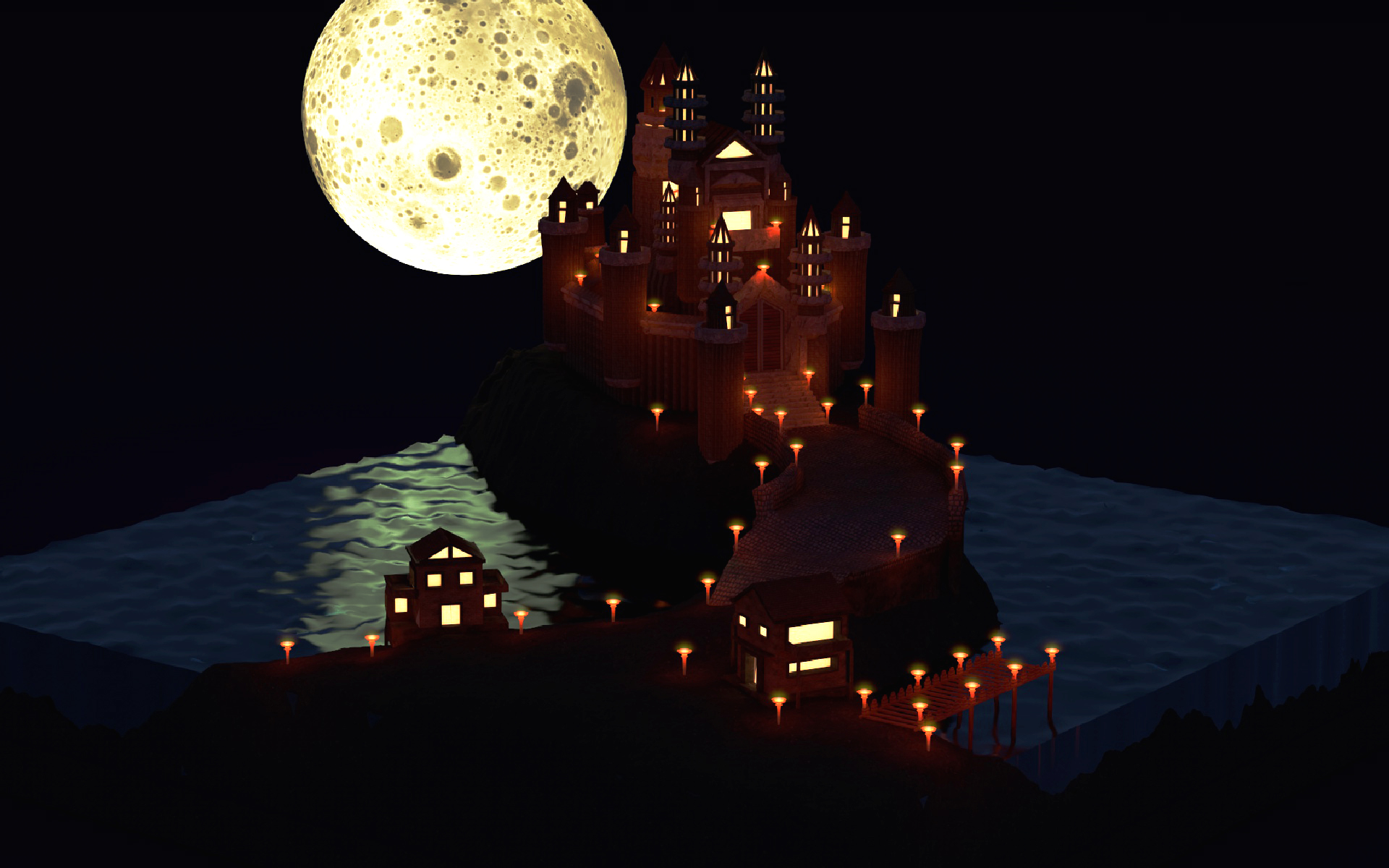 Low Poly 3D palacio por la noche con cinema 4D