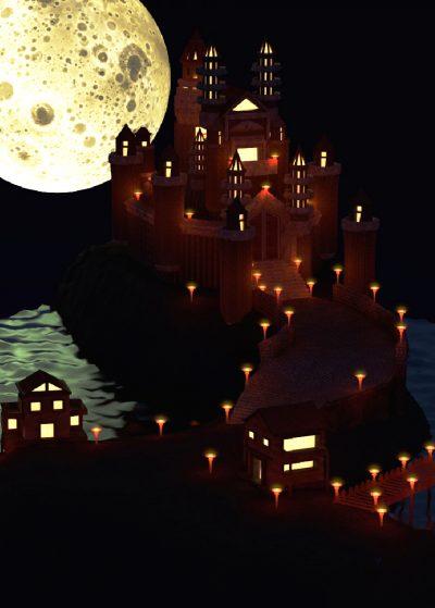 Low Poly 3D palacio por la noche